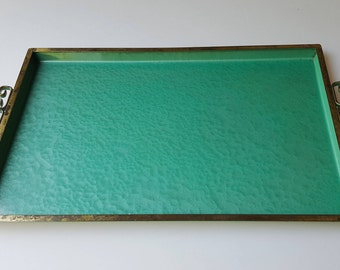 Vintage mid-century metal tray turquoise hammered finish chinoiserie handles 13X8.5