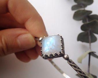 Twilight Star Shine Moonstone Bangle || refined bohemian, 925 sterling silver bracelet, braided band, small hands, rainbow moonstone