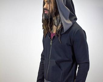 Zip-Up Doomlord Hooded Sweatshirt / Grey Trim Detail, Men's