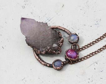 Large Electroformed Cactus/Spirit Quartz Crystal & Raw Purple Amethyst Cluster Boho Gypsy Earthy Necklace/Pendant Copper