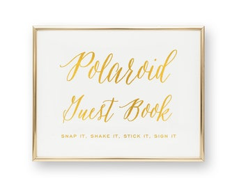 Wedding Gold Foil Sign - Polaroid Guest Book - Asterism Wedding Signs with Gold / Silver / Rose Gold Foil by Pineapple #SG1029