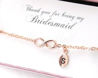 Rose gold tiny infinity bracelet, Bridesmaid gift, Personalized bracelet, Rose gold bracelet, Friendship bracelet, Wedding bracelet,