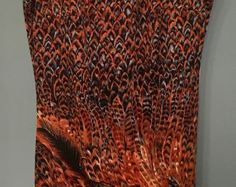 Vintage Lanvin Timeless Sheath Dress Pheasant and Feathers