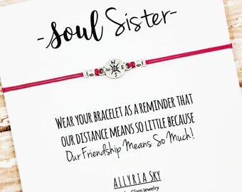 Soul Sister Bracelet | Long Distance Friend | Best Friend Bracelet | Big Little Sorority | Soul Sister Card | Best Friend Gift | For Her