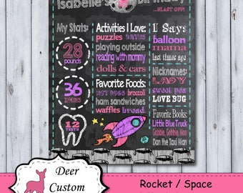 Rocket 1st Birthday Chalkboard Poster | Space First Birthday Chalkboard Poster | Birthday Chalkboard Poster | Milestone Poster | Any Age
