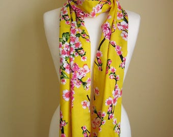 Scarf/Yellow scarf/Yellow Floral scarf/Floral Scarf /Womens scarf/Cherry Blossom scarf/Yellow scarf shawl/Scarf gift for her/ Cotton scarf/