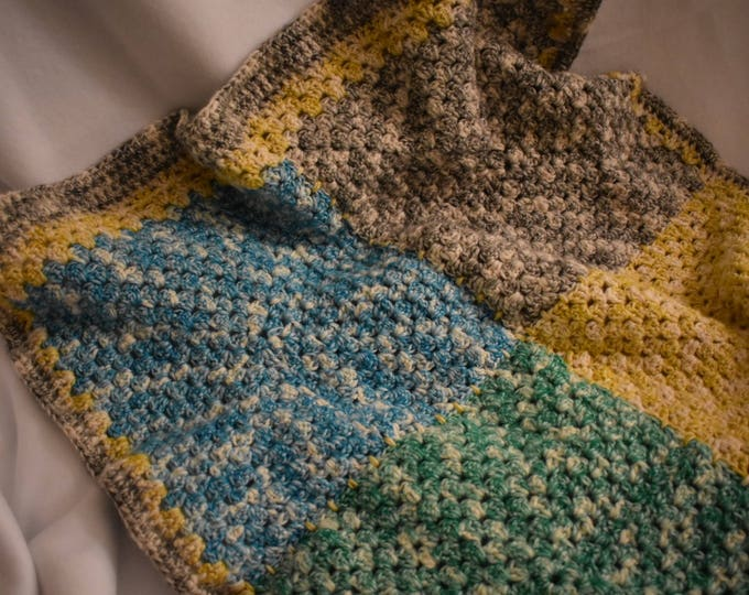 Featured listing image: Large Color Block Crochet Baby Blanket in Green, Yellow, Blue, & Gray