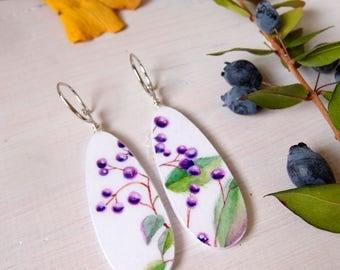 Teardrops dangle earrings SAMBUCO (Sambucus Nigra), paper painted earrings in botanical style, lighweight earrings, eco friendly