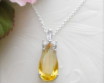 Sterling Silver Yellow Topaz Necklace, Topaz Rhinestone Necklace, November Birthstone Necklace, Topaz Jewelry, Wedding, Gift for Her