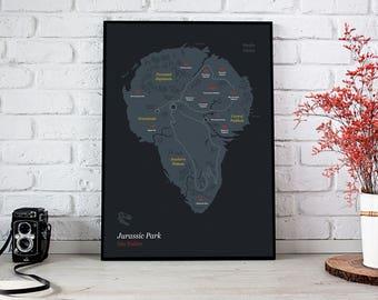 Jurassic World Map Pdf. Jurassic Park Poster Isla Nublar  Map Print World Minimalist Dinosaur world map Etsy