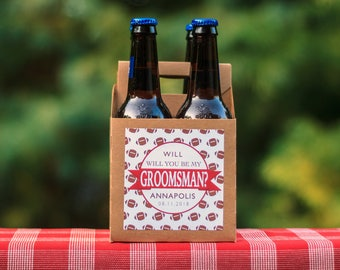 Football Groomsmen Proposal Beer Carrier. Groomsman Proposal. Best Man Invitation. Custom Groomsman Invite. Will You Be My Groomsman Box