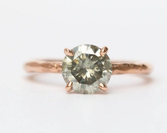 Grey Moissanite and Rose Gold Carved Solitaire Engagement Ring in Recycled Rose Gold by Anueva Jewelry - Moissanite Engagement Ring