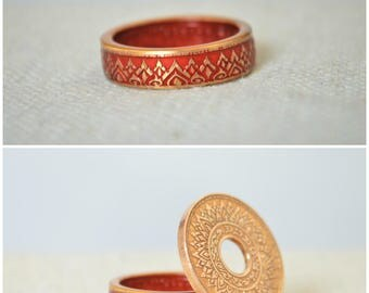 Thailand Coin Ring, Red Ring, Red Coin Ring, Crown Ring, Unique Ring, Red BoHo Ring, Coin Jewelry, Bohemian Ring, Thai Coin Ring, Thai Art