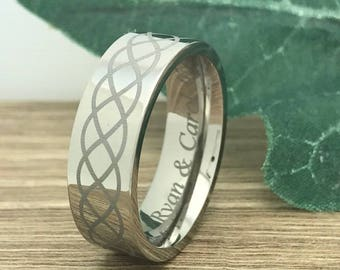 6mm Tungsten Wedding Ring, Personalize Custom Engrave Tungsten Ring, Laser Engrave Infinity Celtic Ring, Anniversary Ring TCR468