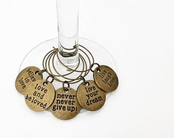Set of 5 Antique Gold Inspirational Quote Cocktail & Wine Glass Charms