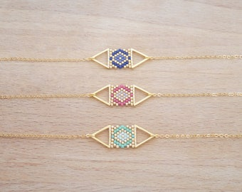 Double Triangle weaving of Perle gilded with fine gold bracelet