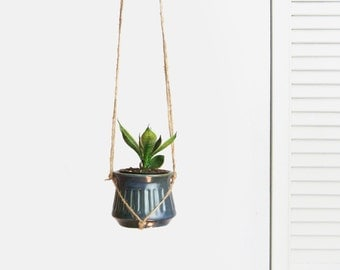 Vintage Small Hanging Planter | Blue Ceramic Plant Pot Holder, Pottery & Beige Jute Hanger | Rustic Indoor Garden | Succulent, Air Plant