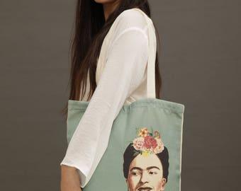 Frida Kahlo tote bag, Frida Kahlo bag, cotton tote bags for women, painted tote bag, vegan tote bag, canvas market bag, canvas market tote