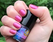 POLLY - Pretty Scarlet Pink Color Stardust Doctor Who Inspired Nail Polish - Rose Scented - 5-Free & Cruelty Free