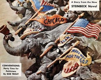 1952 GOP Republican Convention - Charging Elephants - Vintage 1950s Collier's Magazine Cover - US Politics