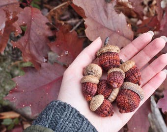 limited edition hand knit autumn acorn ornaments // made to order