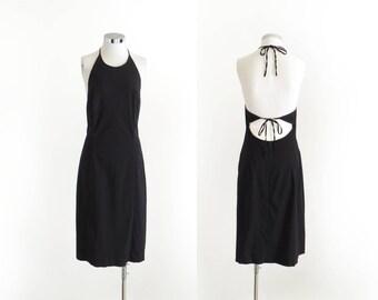 Black Halter Dress 90s Black Dress Minimalist Dress Back Tie Dress 90s Minimal Dress Strappy Dress Knee Length Aesthetic Dress Womens Medium