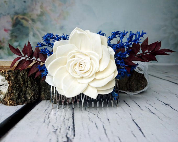 Burgundy and blue rustic HAIR COMB with Sola Flower and dried flowers