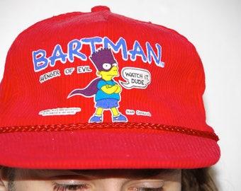 1990 BARTMAN avenger of evil watch it dude red corduroy velcro strap baseball hat