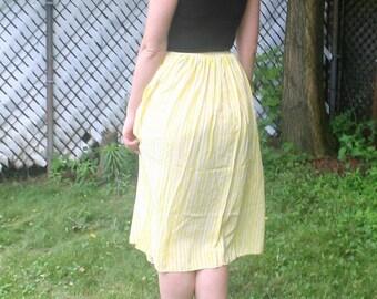 Chaus Yellow White Striped Silk Midi Skirt 80s Size XS