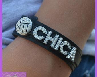 Girls Volleyball Jewelry - Volleyball Gift - Snap Leather Custom Volleyball Bracelet -  Volleyball Team Gift - Volleyball Mom - Volleyball