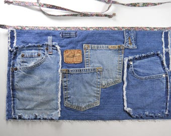 Levi Upcycled Denim Server Apron / # 5 in Series /  Denim Five Pocket Waist Apron