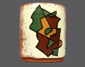 1946 Irene Wawrzynowski Kilmurry Ceramic Cup Coffee Tea Mug Vintage Abstract Cubist Design Colorful Cubism Chicago Artist
