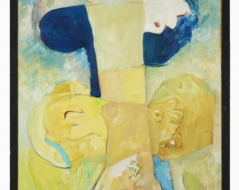 Mid Century G Summers Abstract Oil Painting MCM MOD Modern Decor Art Vintage