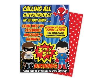 Twin Superhero Invitation, Twin Superhero Birthday, twin birthday invitations, superhero invitation, Double, Shared, Printable, Digital