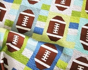 Touchdown quilt pattern - Allison Harris of Cluck Cluck Sew - modern quilt pattern, modern tribal, football, boy quilt, sports quilt