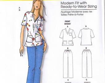 Easy Womens Scrub Top Pants Connie Crawford Butterick 5301 Sewing Pattern Plus Size XXL 1X 2X 3X 4X 5X 6X