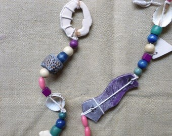 Ceramic necklace, shells, corals and wooden beads
