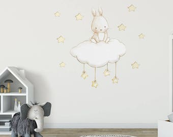 Fabric Wall Decal, BUNNY And STARS, Nursery Wall Decal, Watercolor Decals,  Nursery Part 83