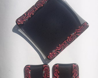 Red and Black Fused Glass Dish and Coaster Set