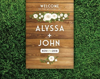 OAK Wood Sign Wedding Welcome . Large White Cream Rose Garland Eucalyptus Olive Branch Blush Pink . Printed on Paper • Foam Board • Canvas