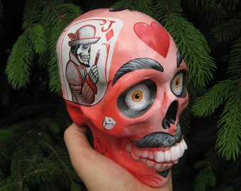 Handmade - Handpainted - Airbrushed - Mexican - Moustaches - Hearts - Realistic - Day of the Dead - Calavera - Painted Skull - Sugar Skull