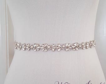 Beaded Bridal Belt, Opal Wedding Sash Belt, Wedding Belt, Thin Rhinestone and Crystal Wedding Sash - Style 793