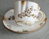 Antique Victorian George Jones Shaped Cabinet Cup and Saucer with Handpainted Pink Flowers and Gold Decoration Rd No 201593 Dating to c.1893