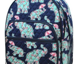 Preppy Elephant Print Large Quilted Backpack Great for Back to School or Diaper Bag NavyBlue