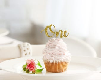 ONE glitter cupcake topper set of 12 - baby / birthday / 1st birthday / cake toppers / party decor