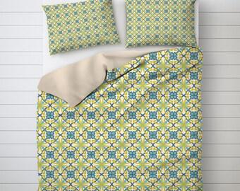 Modernist Bedding, Pattern Design, Green And Blue, Best Duvet Covers, Designer Duvet Cover, Unique Duvet Covers, Cool Bedding
