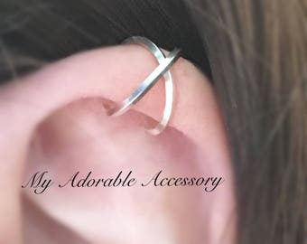 Square Wire Cross Upper Cartilage Ear Cuff, Criss Cross Ear Cuff, Ear Cuff