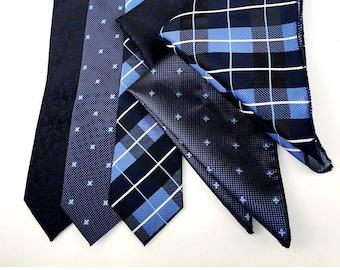 Blue Wedding Tie Set Set of 3 Dark Navy Patterned Neckties with Pocket Squares Groomsman Wedding Ties with Pocket Square Groomsmen Navy Blue