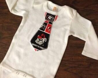 Georgia Tie Onsie, University of Georgia Inspired Tie Onsie, Applique Onsie, You Choose Your Size, Baby Boy Onsie, Other Teams Available