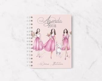 2018 planner, 2018 agenda, Fashion planner, 2018 calendar, Personal planner, Elegant planner, Weeky planner 2018, Planner 2018, Agenda 2018